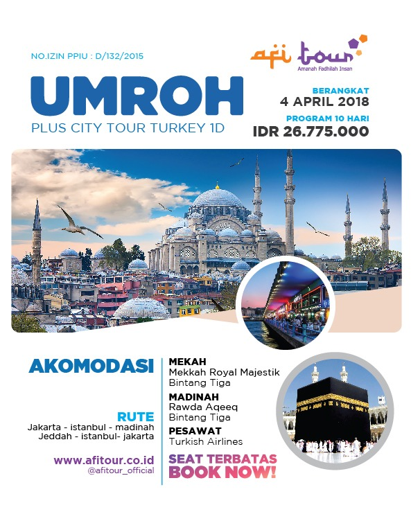 Paket Umroh Plus Turkey 1 Hari 4 April 2018