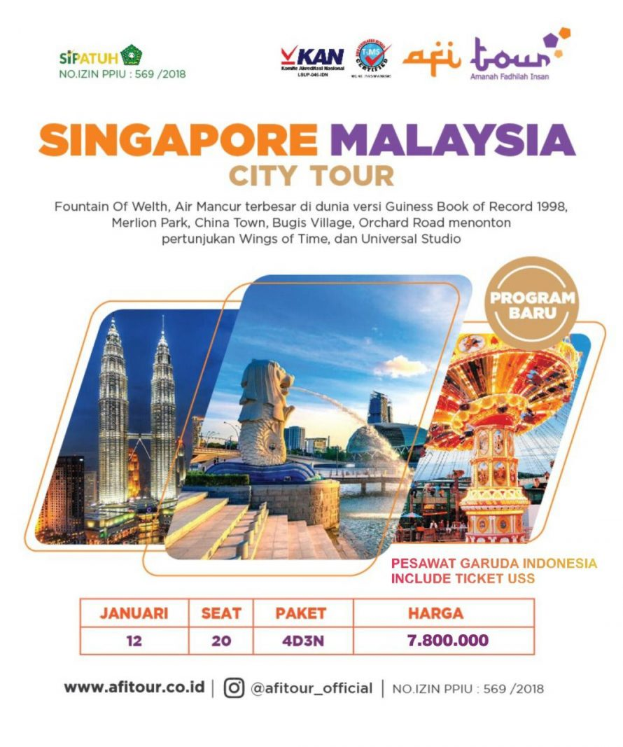 SINGAPORE MALAYSIA CITY TOUR 9 JANUARI 9 | AFI Tour Official