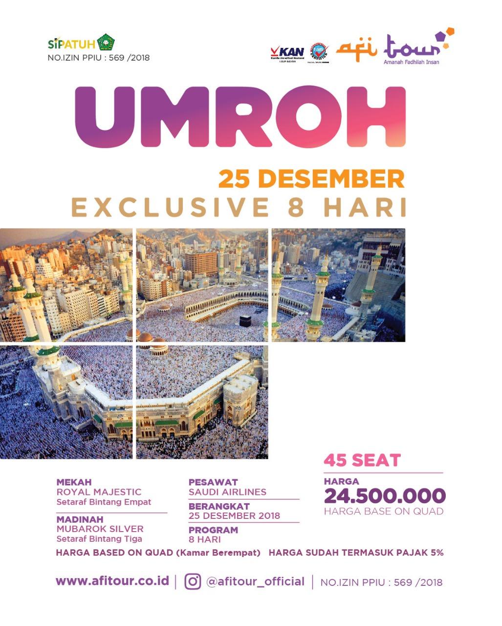 UMRAH EXSKLUSIF 25 DESEMBER 2018