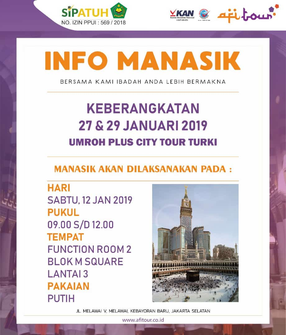 MANASIK 12 JANUARI 2019 PLUS CITY TOUR TURKI
